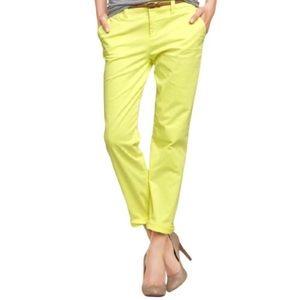 Gap Bright Yellow Straight Leg Ankle Crop Khakis
